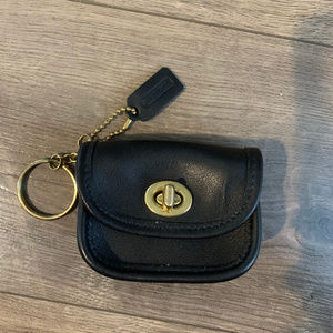 Vintage Coach Black Leather Coin Pouch Keychain